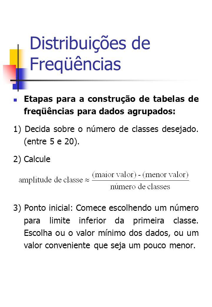 Distribuições de Freqüências Etapas para a construção de tabelas de freqüências para dados agrupados: 1) Decida sobre o número de classes desejado.