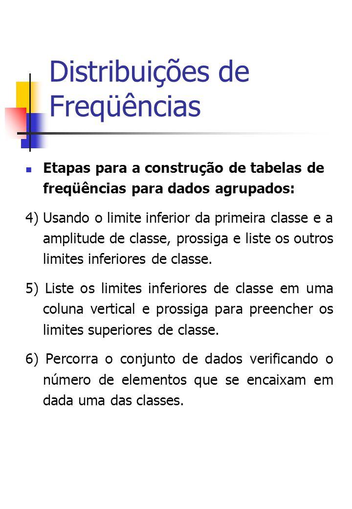 Distribuições de Freqüências Etapas para a construção de tabelas de freqüências para dados agrupados: 4) Usando o limite inferior da primeira classe e a amplitude de classe, prossiga e liste os outros limites inferiores de classe.