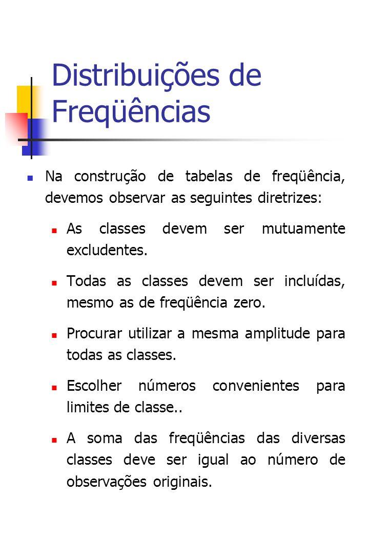 Distribuições de Freqüências Na construção de tabelas de freqüência, devemos observar as seguintes diretrizes: As classes devem ser mutuamente excludentes.