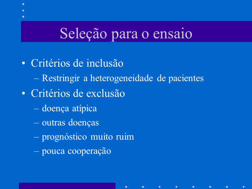Seleção para o ensaio Critérios de inclusão –Restringir a heterogeneidade de pacientes Critérios de exclusão –doença atípica –outras doenças –prognóst