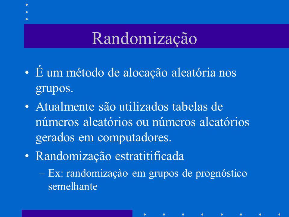 Randomização É um método de alocação aleatória nos grupos. Atualmente são utilizados tabelas de números aleatórios ou números aleatórios gerados em co