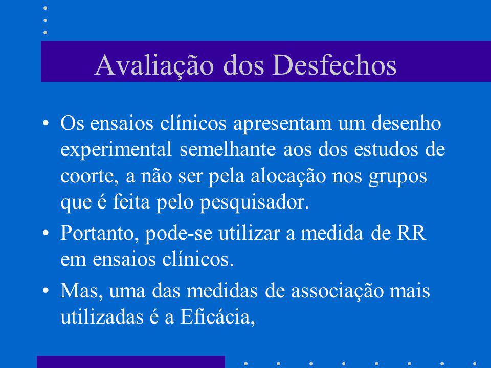 Avaliação dos Desfechos Os ensaios clínicos apresentam um desenho experimental semelhante aos dos estudos de coorte, a não ser pela alocação nos grupo