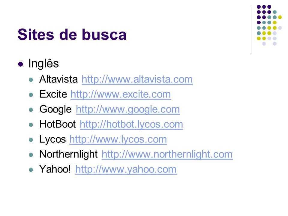 Sites de busca Inglês Altavista http://www.altavista.comhttp://www.altavista.com Excite http://www.excite.comhttp://www.excite.com Google http://www.google.comhttp://www.google.com HotBoot http://hotbot.lycos.comhttp://hotbot.lycos.com Lycos http://www.lycos.comhttp://www.lycos.com Northernlight http://www.northernlight.comhttp://www.northernlight.com Yahoo.