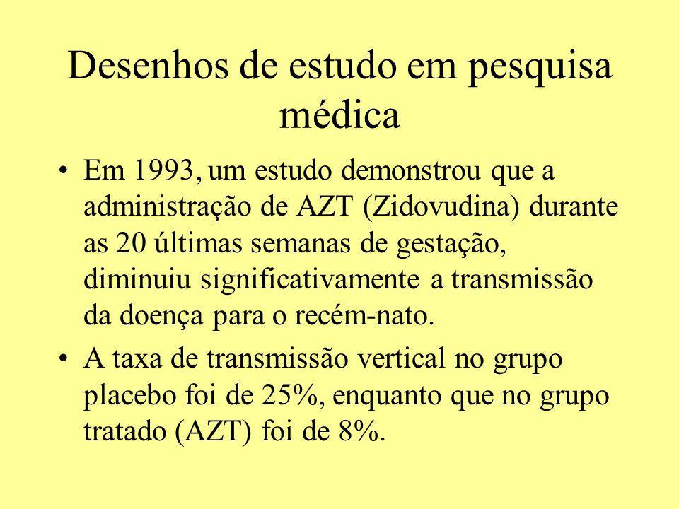 Desenhos de estudo em pesquisa médica Em 1993, um estudo demonstrou que a administração de AZT (Zidovudina) durante as 20 últimas semanas de gestação,
