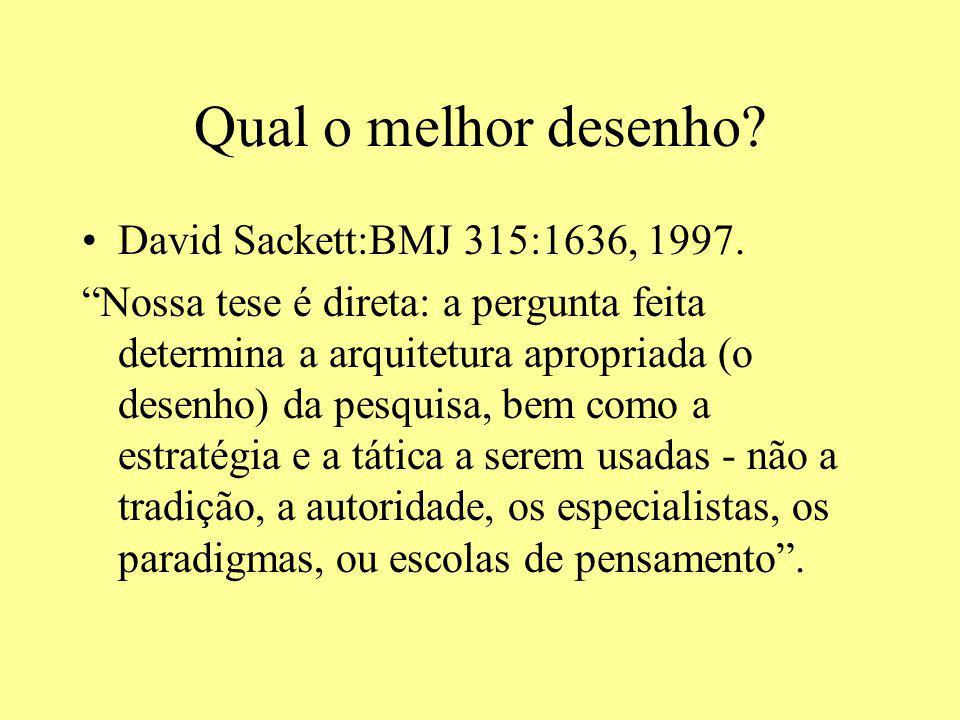 Qual o melhor desenho? David Sackett:BMJ 315:1636, 1997. Nossa tese é direta: a pergunta feita determina a arquitetura apropriada (o desenho) da pesqu