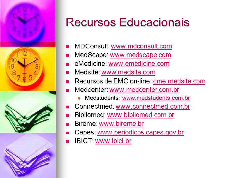 Recursos Educacionais MDConsult: www.mdconsult.com MDConsult: www.mdconsult.comwww.mdconsult.com MedScape: www.medscape.com MedScape: www.medscape.comwww.medscape.com eMedicine: www.emedicine.com eMedicine: www.emedicine.comwww.emedicine.com Medsite: www.medsite.com Medsite: www.medsite.comwww.medsite.com Recursos de EMC on-line: cme.medsite.com Recursos de EMC on-line: cme.medsite.comcme.medsite.com Medcenter: www.medcenter.com.br Medcenter: www.medcenter.com.brwww.medcenter.com.br Medstudents: www.medstudents.com.br Medstudents: www.medstudents.com.brwww.medstudents.com.br Connectmed: www.connectmed.com.br Connectmed: www.connectmed.com.brwww.connectmed.com.br Bibliomed: www.bibliomed.com.br Bibliomed: www.bibliomed.com.brwww.bibliomed.com.br Bireme: www.bireme.br Bireme: www.bireme.brwww.bireme.br Capes: www.periodicos.capes.gov.br Capes: www.periodicos.capes.gov.brwww.periodicos.capes.gov.br IBICT: www.ibict.br IBICT: www.ibict.brwww.ibict.br