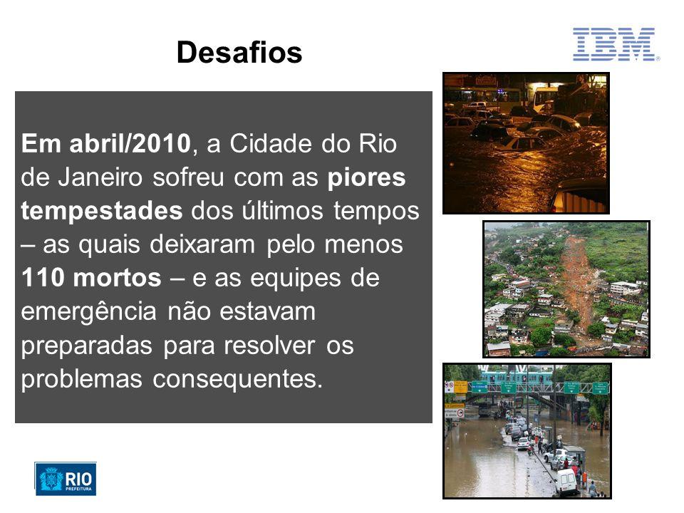Desafios Em abril/2010, a Cidade do Rio de Janeiro sofreu com as piores tempestades dos últimos tempos – as quais deixaram pelo menos 110 mortos – e as equipes de emergência não estavam preparadas para resolver os problemas consequentes.