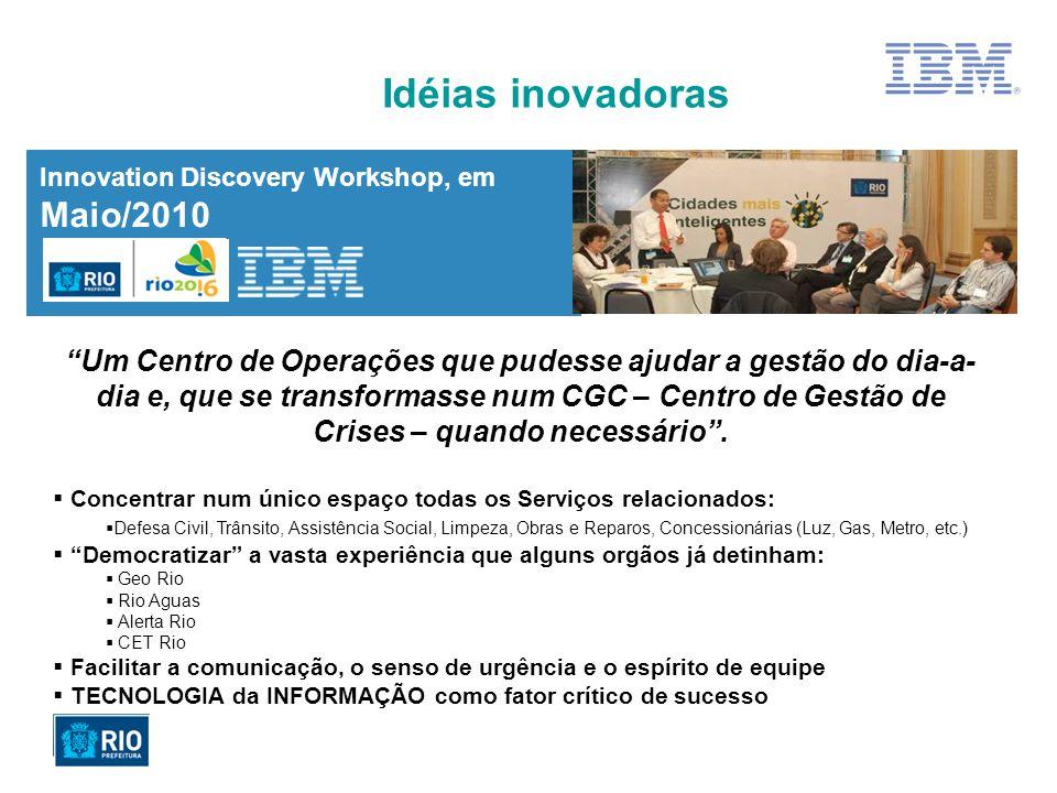 Innovation Discovery Workshop, em Maio/2010 Idéias inovadoras Um Centro de Operações que pudesse ajudar a gestão do dia-a- dia e, que se transformasse num CGC – Centro de Gestão de Crises – quando necessário.