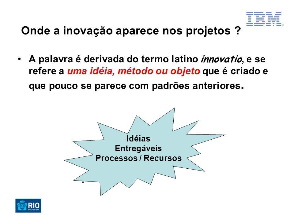 Idéia / Entregáveis Baixa Alta Tipos de Projetos e as Inovações Obrigatórios Higiênicos Estratégicos ou Ruptores AltaBaixaAltaBaixa Intuitivos ou P&D Processos & Recursos