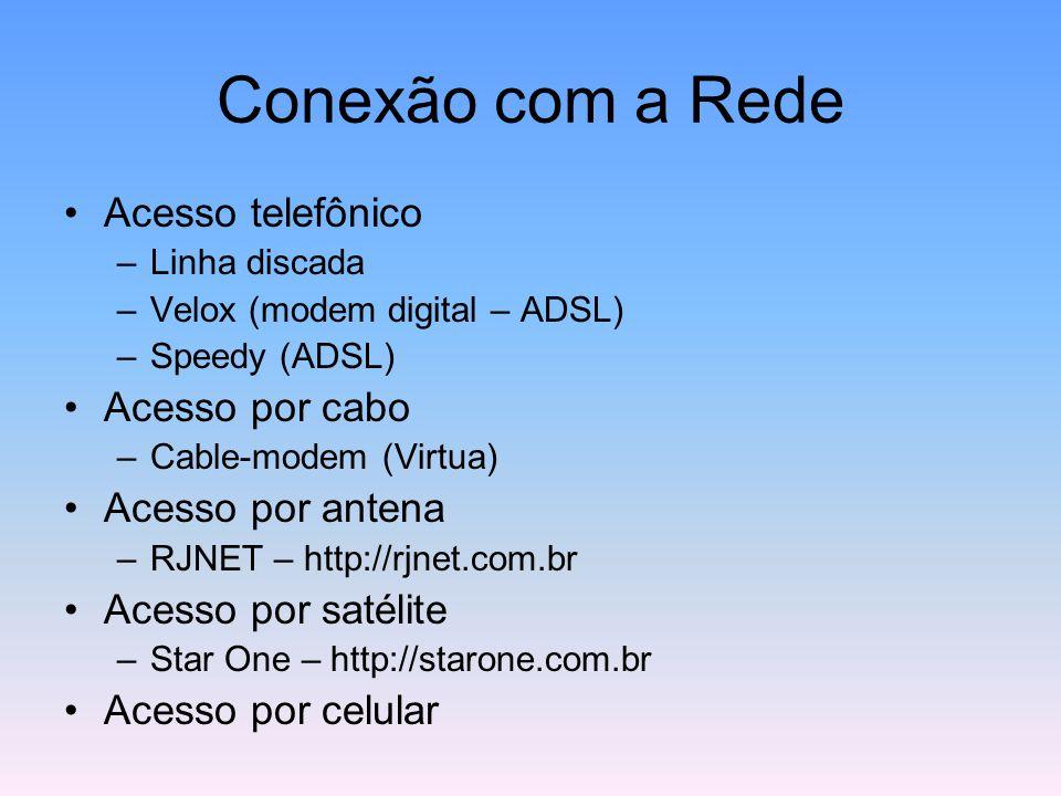 Conexão com a Rede Acesso telefônico –Linha discada –Velox (modem digital – ADSL) –Speedy (ADSL) Acesso por cabo –Cable-modem (Virtua) Acesso por ante