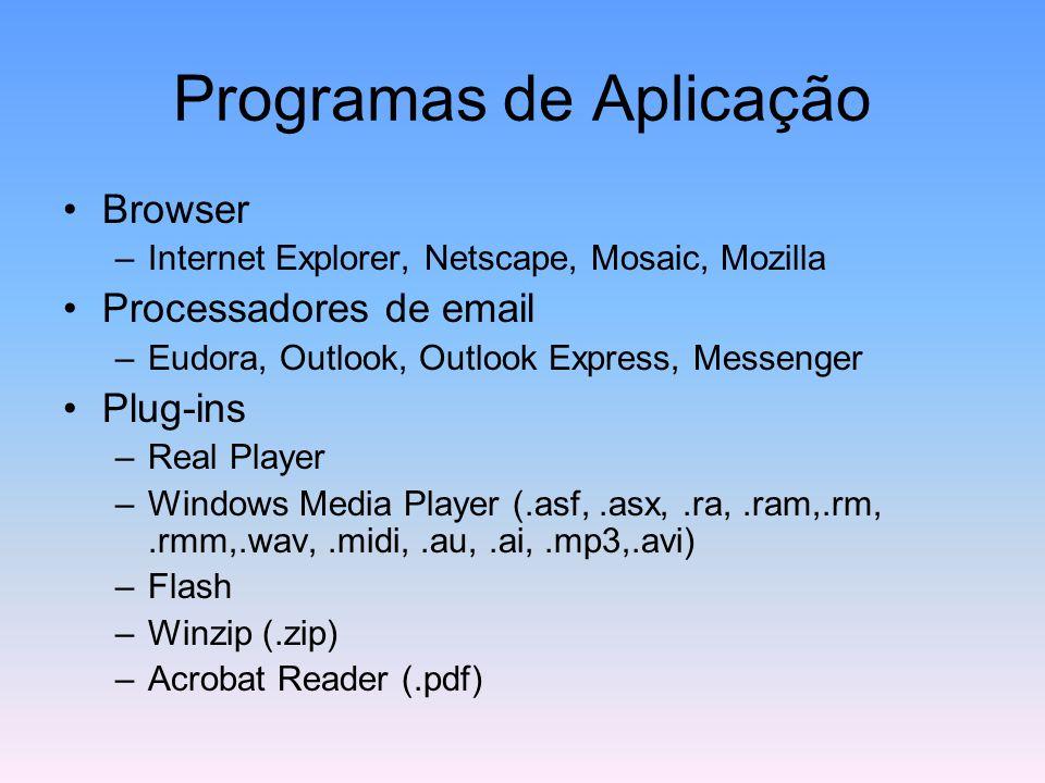 Programas de Aplicação Browser –Internet Explorer, Netscape, Mosaic, Mozilla Processadores de email –Eudora, Outlook, Outlook Express, Messenger Plug-ins –Real Player –Windows Media Player (.asf,.asx,.ra,.ram,.rm,.rmm,.wav,.midi,.au,.ai,.mp3,.avi) –Flash –Winzip (.zip) –Acrobat Reader (.pdf)