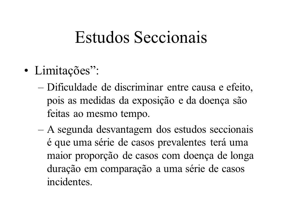 Estudos Seccionais Limitações: –Dificuldade de discriminar entre causa e efeito, pois as medidas da exposição e da doença são feitas ao mesmo tempo. –