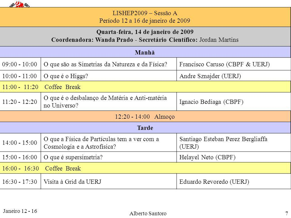 Janeiro 12 - 16 Alberto Santoro8 LISHEP2009 – Sessão A Período 12 a 16 de janeiro de 2009 Quinta-feira, 15 de janeiro de 2009 Coordenador: Alberto Santoro - Secretário Científico: Felipe Silva Manhã 09:00 - 10:00Projeto Master Class do CERN no Rio de Janeiro Marcia Begalli (UERJ) e Vitor Oguri (UERJ) 10:00 - 11:00e-learningGil Marques (USP) 11:00 - 11:20 Coffee Break 11:20 - 12:20O que os brasileiros fizeram em Física de Partículas ?José M.