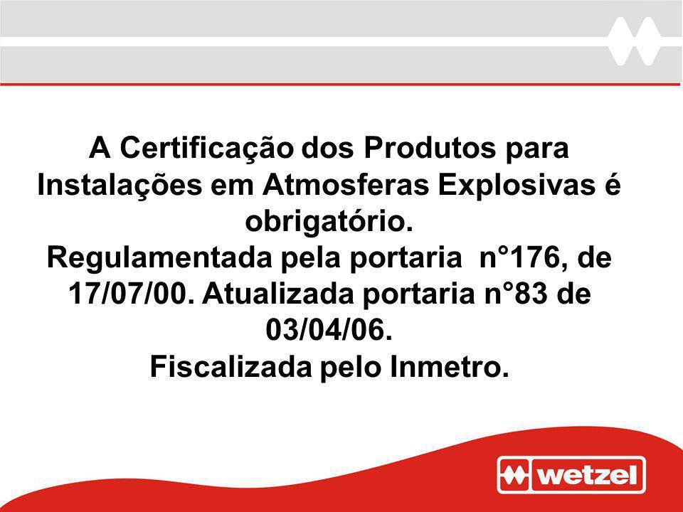 A Certificação dos Produtos para Instalações em Atmosferas Explosivas é obrigatório. Regulamentada pela portaria n°176, de 17/07/00. Atualizada portar