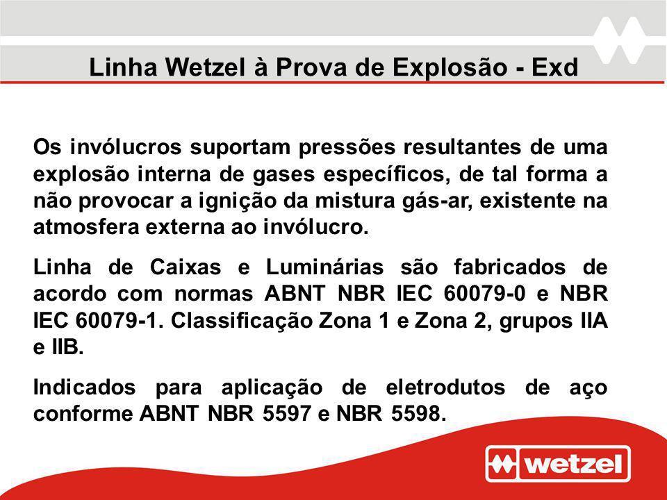 Linha Wetzel à Prova de Explosão - Exd Os invólucros suportam pressões resultantes de uma explosão interna de gases específicos, de tal forma a não pr