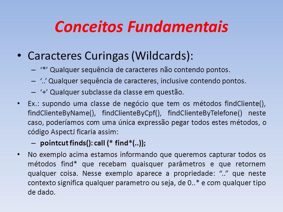 Conceitos Fundamentais Caracteres Curingas (Wildcards): – * Qualquer sequência de caracteres não contendo pontos. –.. Qualquer sequência de caracteres