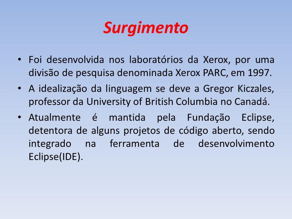 Surgimento Foi desenvolvida nos laboratórios da Xerox, por uma divisão de pesquisa denominada Xerox PARC, em 1997. A idealização da linguagem se deve