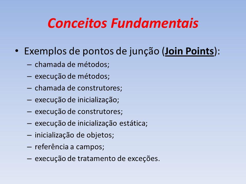 Conceitos Fundamentais Exemplos de pontos de junção (Join Points): – chamada de métodos; – execução de métodos; – chamada de construtores; – execução