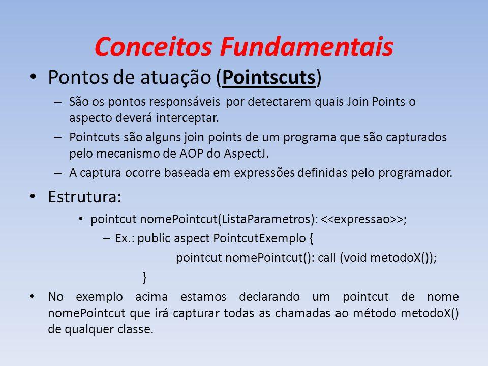 Conceitos Fundamentais Pontos de atuação (Pointscuts) – São os pontos responsáveis por detectarem quais Join Points o aspecto deverá interceptar. – Po