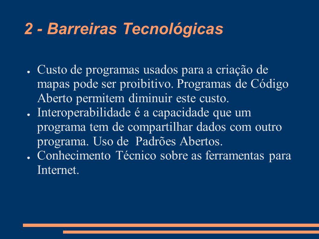 2 - Barreiras Tecnológicas Custo de programas usados para a criação de mapas pode ser proibitivo.