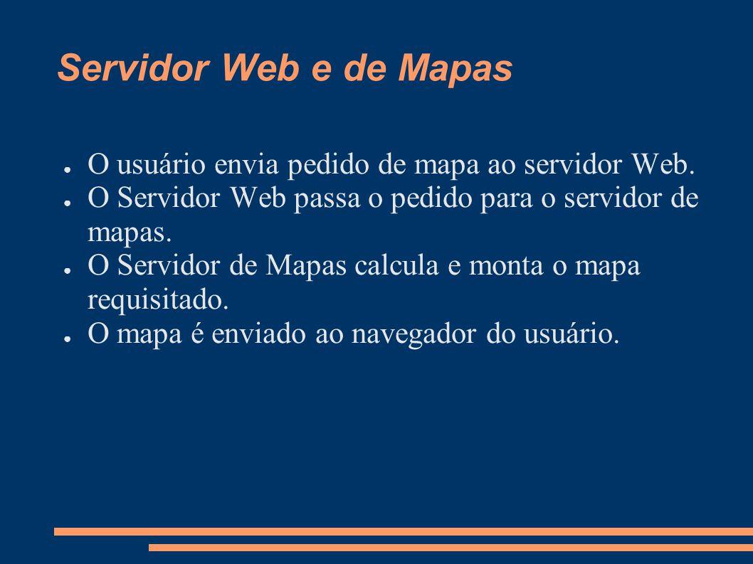 Servidor Web e de Mapas O usuário envia pedido de mapa ao servidor Web.