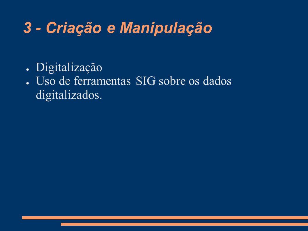 3 - Criação e Manipulação Digitalização Uso de ferramentas SIG sobre os dados digitalizados.