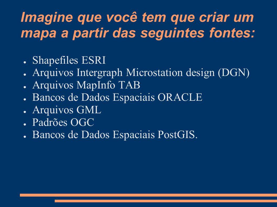Imagine que você tem que criar um mapa a partir das seguintes fontes: Shapefiles ESRI Arquivos Intergraph Microstation design (DGN) Arquivos MapInfo TAB Bancos de Dados Espaciais ORACLE Arquivos GML Padrões OGC Bancos de Dados Espaciais PostGIS.