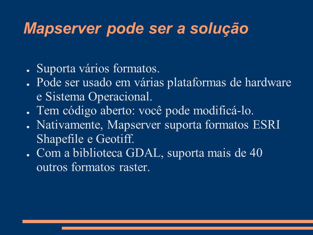 Mapserver pode ser a solução Suporta vários formatos.