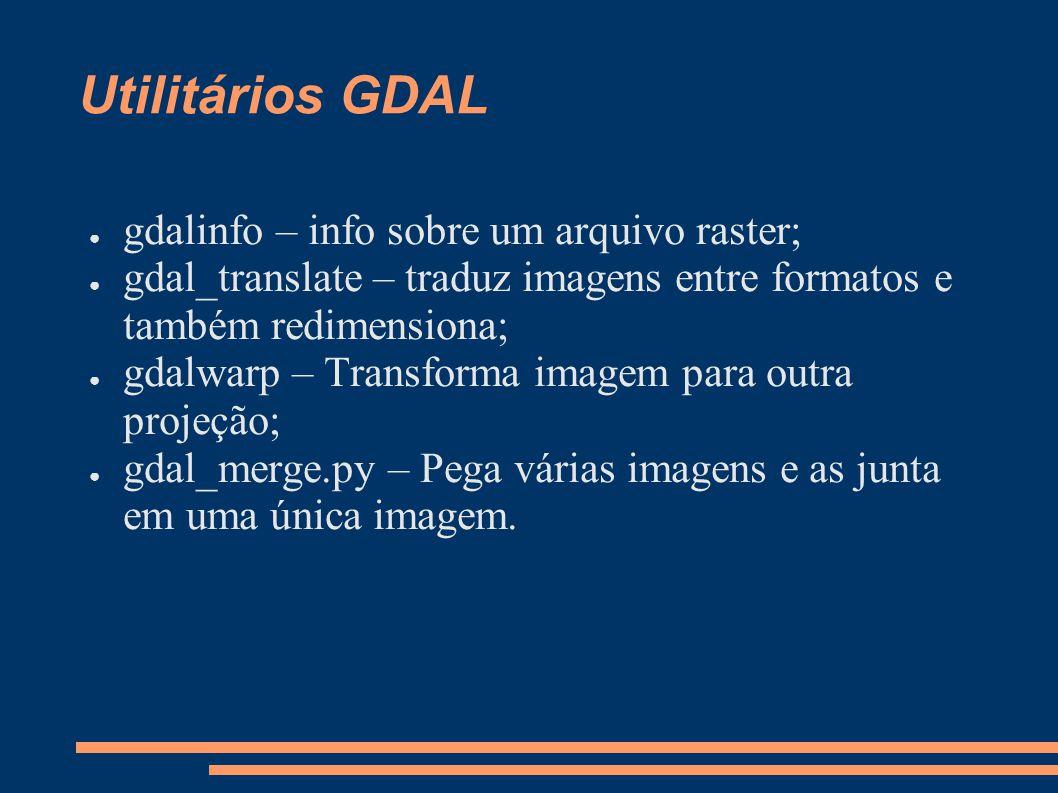 Utilitários GDAL gdalinfo – info sobre um arquivo raster; gdal_translate – traduz imagens entre formatos e também redimensiona; gdalwarp – Transforma imagem para outra projeção; gdal_merge.py – Pega várias imagens e as junta em uma única imagem.