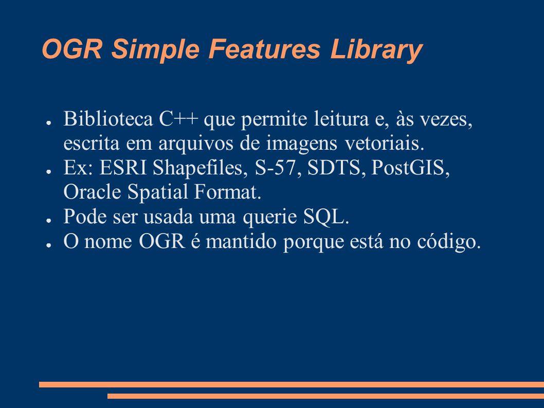 OGR Simple Features Library Biblioteca C++ que permite leitura e, às vezes, escrita em arquivos de imagens vetoriais.