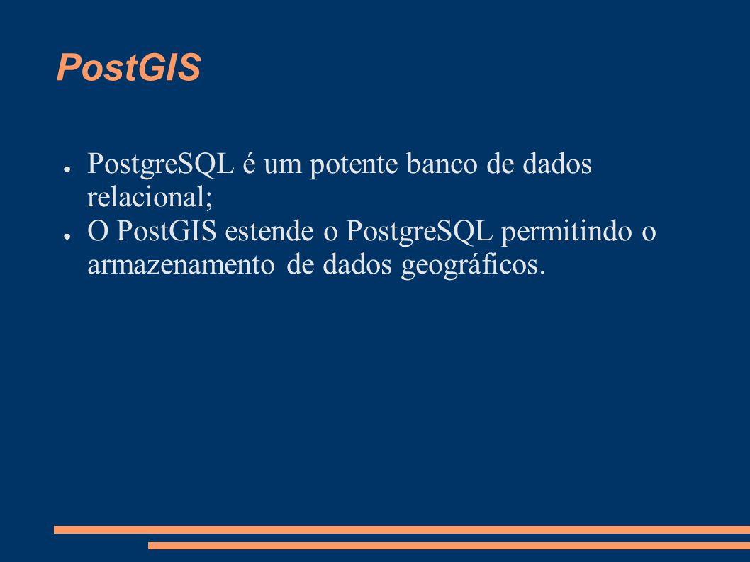 PostGIS PostgreSQL é um potente banco de dados relacional; O PostGIS estende o PostgreSQL permitindo o armazenamento de dados geográficos.