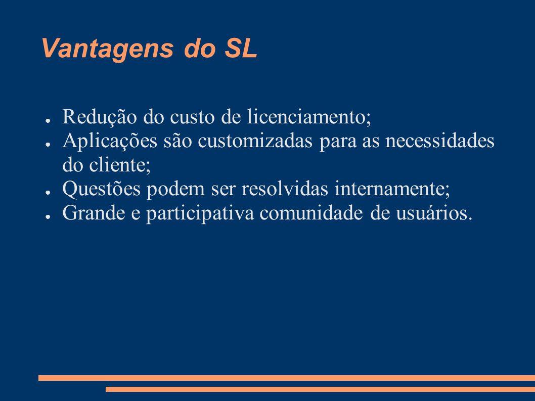 Vantagens do SL Redução do custo de licenciamento; Aplicações são customizadas para as necessidades do cliente; Questões podem ser resolvidas internamente; Grande e participativa comunidade de usuários.