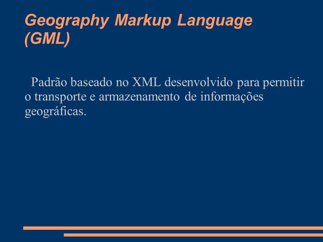 Geography Markup Language (GML) Padrão baseado no XML desenvolvido para permitir o transporte e armazenamento de informações geográficas.