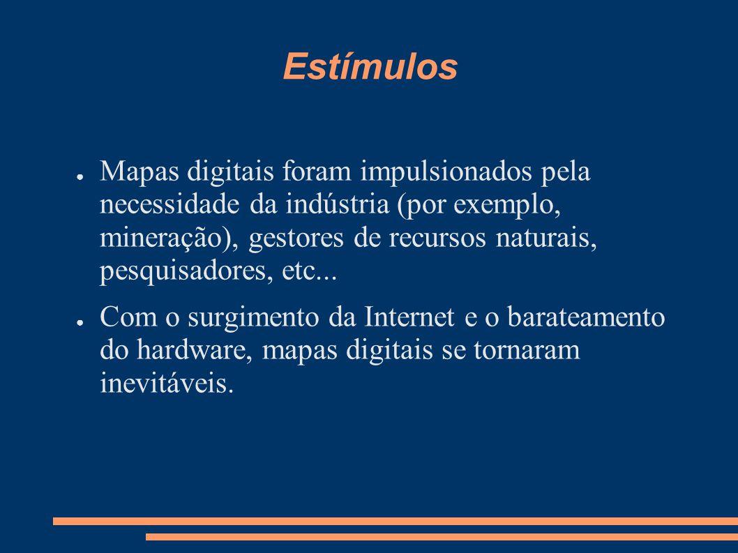 Estímulos Mapas digitais foram impulsionados pela necessidade da indústria (por exemplo, mineração), gestores de recursos naturais, pesquisadores, etc...