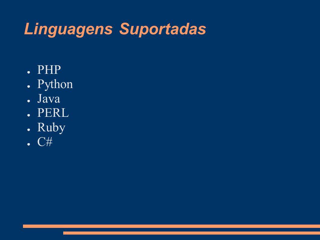 Linguagens Suportadas PHP Python Java PERL Ruby C#