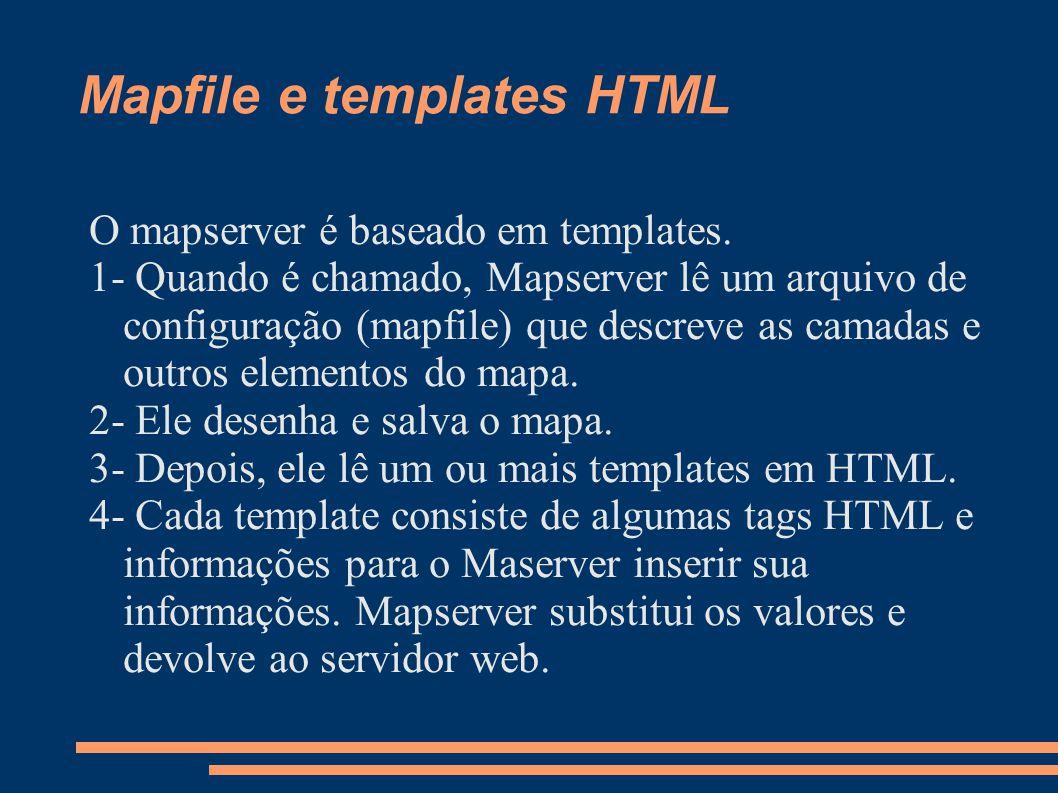 Mapfile e templates HTML O mapserver é baseado em templates.