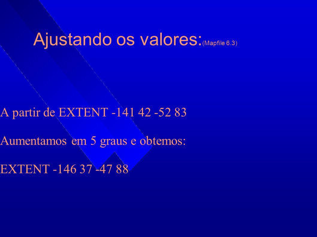 Ajustando os valores: (Mapfile 6.3) A partir de EXTENT -141 42 -52 83 Aumentamos em 5 graus e obtemos: EXTENT -146 37 -47 88