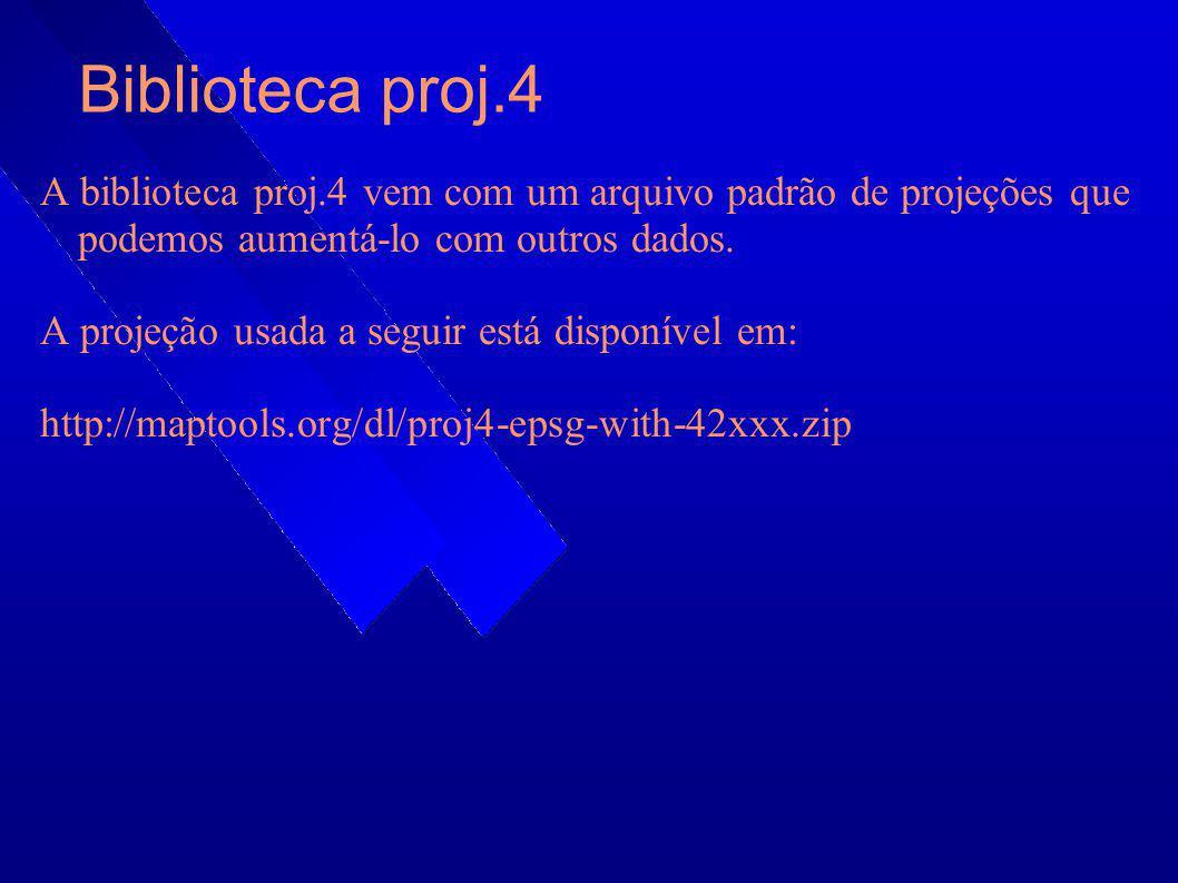 Biblioteca proj.4 A biblioteca proj.4 vem com um arquivo padrão de projeções que podemos aumentá-lo com outros dados. A projeção usada a seguir está d
