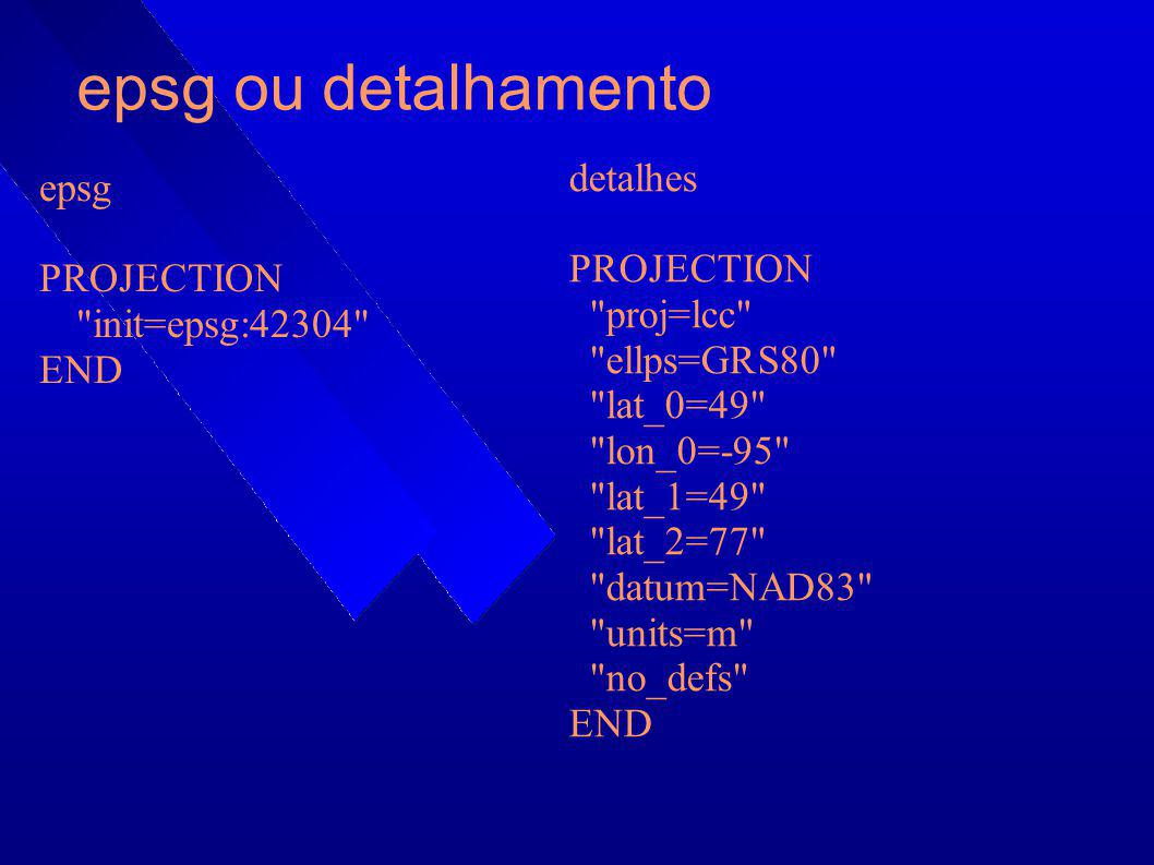 epsg ou detalhamento epsg PROJECTION
