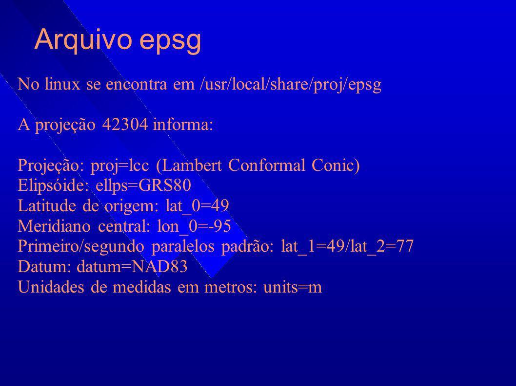 Arquivo epsg No linux se encontra em /usr/local/share/proj/epsg A projeção 42304 informa: Projeção: proj=lcc (Lambert Conformal Conic) Elipsóide: ellp