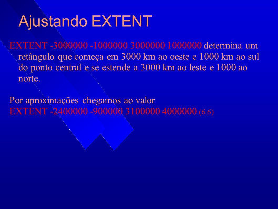 Ajustando EXTENT EXTENT -3000000 -1000000 3000000 1000000 determina um retângulo que começa em 3000 km ao oeste e 1000 km ao sul do ponto central e se