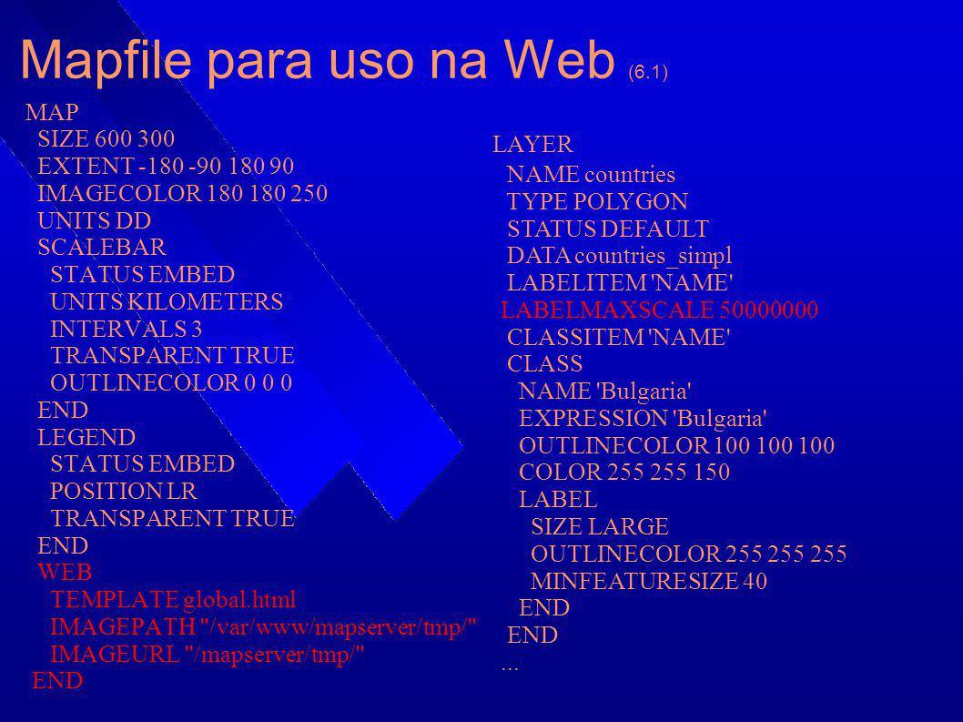 Mapfile para uso na Web (6.1) MAP SIZE 600 300 EXTENT -180 -90 180 90 IMAGECOLOR 180 180 250 UNITS DD SCALEBAR STATUS EMBED UNITS KILOMETERS INTERVALS