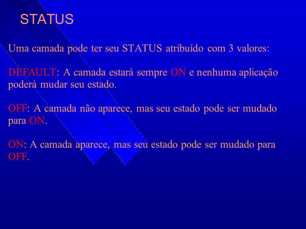 STATUS Uma camada pode ter seu STATUS atribuído com 3 valores: DEFAULT: A camada estará sempre ON e nenhuma aplicação poderá mudar seu estado. OFF: A
