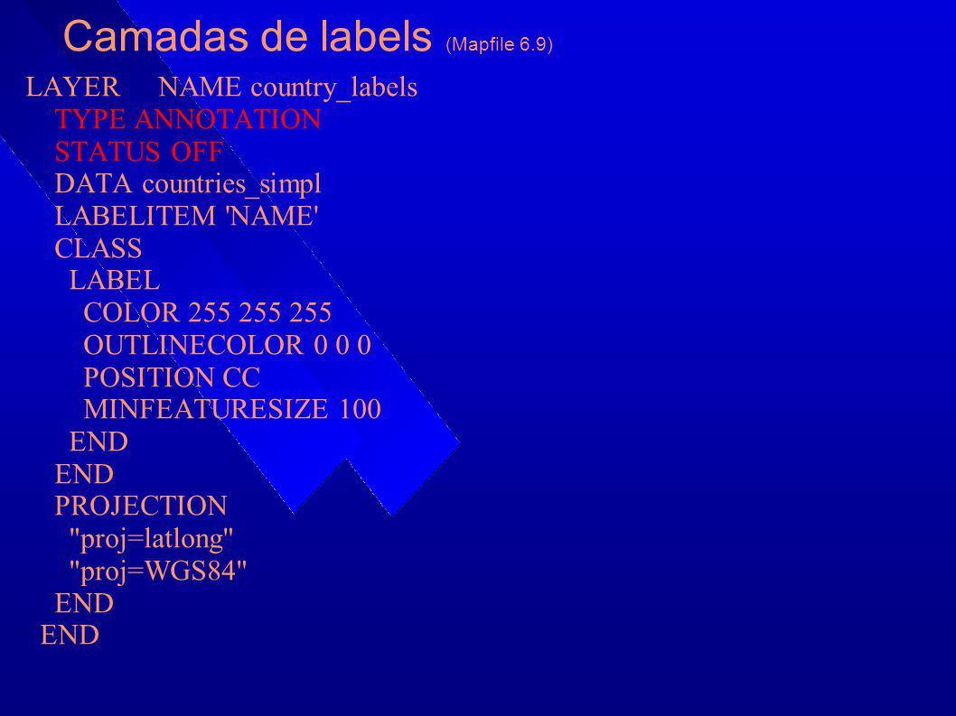 Camadas de labels (Mapfile 6.9) LAYER NAME country_labels TYPE ANNOTATION STATUS OFF DATA countries_simpl LABELITEM 'NAME' CLASS LABEL COLOR 255 255 2