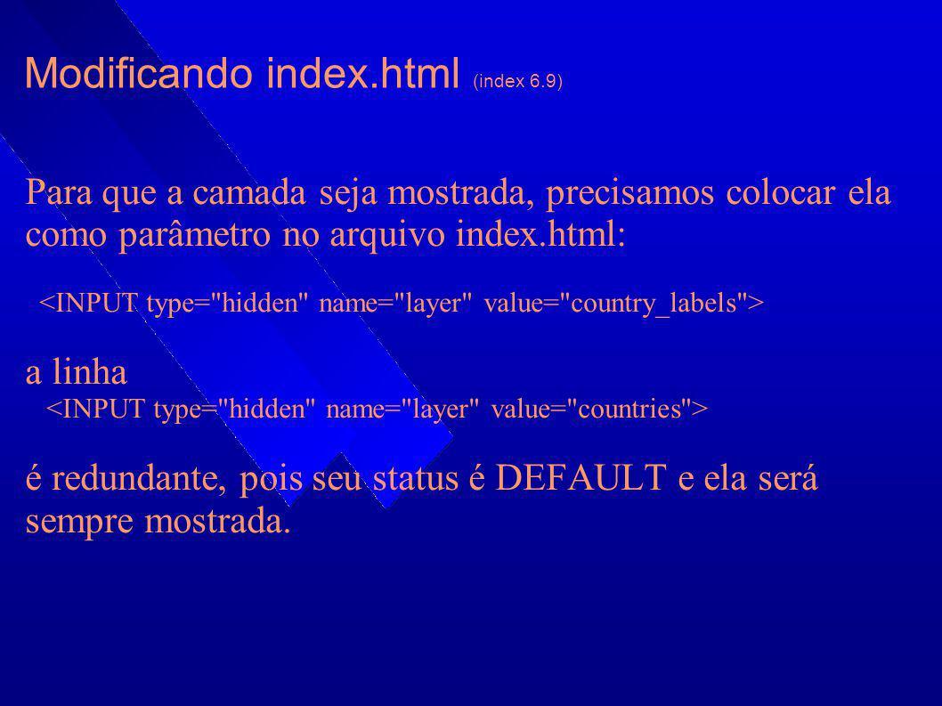 Modificando index.html (index 6.9) Para que a camada seja mostrada, precisamos colocar ela como parâmetro no arquivo index.html: a linha é redundante,