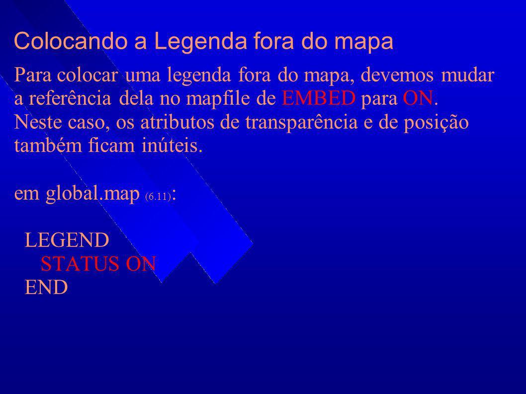Colocando a Legenda fora do mapa Para colocar uma legenda fora do mapa, devemos mudar a referência dela no mapfile de EMBED para ON. Neste caso, os at