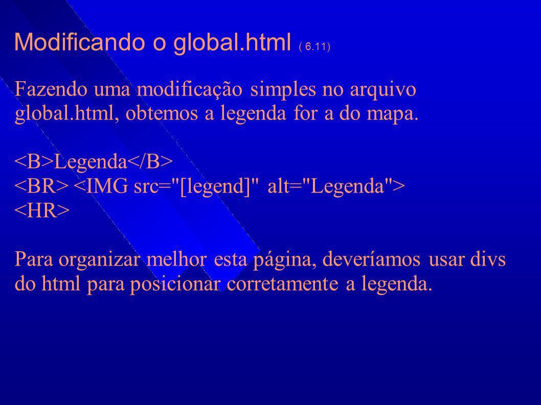 Modificando o global.html ( 6.11) Fazendo uma modificação simples no arquivo global.html, obtemos a legenda for a do mapa. Legenda Para organizar melh