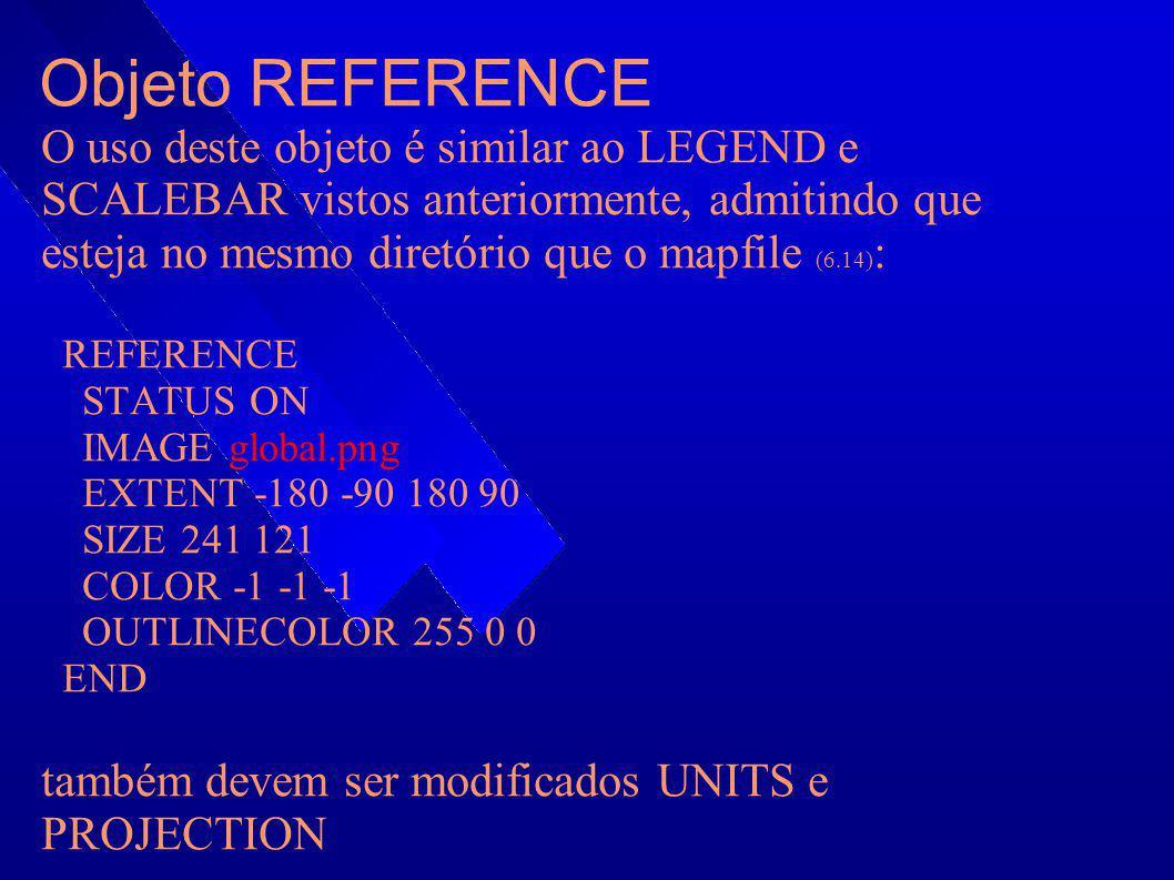 Objeto REFERENCE O uso deste objeto é similar ao LEGEND e SCALEBAR vistos anteriormente, admitindo que esteja no mesmo diretório que o mapfile (6.14)
