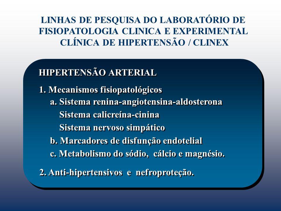 HIPERTENSÃO ARTERIAL LINHAS DE PESQUISA DO LABORATÓRIO DE FISIOPATOLOGIA CLINICA E EXPERIMENTAL CLÍNICA DE HIPERTENSÃO / CLINEX a. Sistema renina-angi