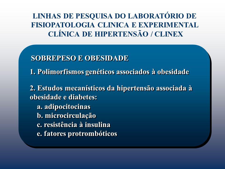 1. Polimorfismos genéticos associados à obesidade LINHAS DE PESQUISA DO LABORATÓRIO DE FISIOPATOLOGIA CLINICA E EXPERIMENTAL CLÍNICA DE HIPERTENSÃO /
